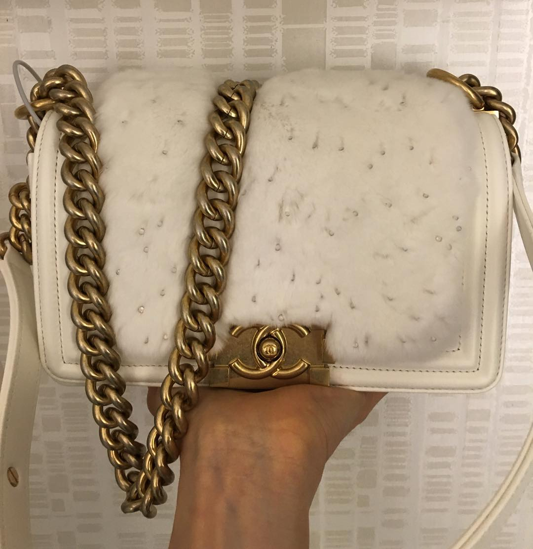 One Of 2016 Collection With Boy Chanel White Flap Bag with Golden ...