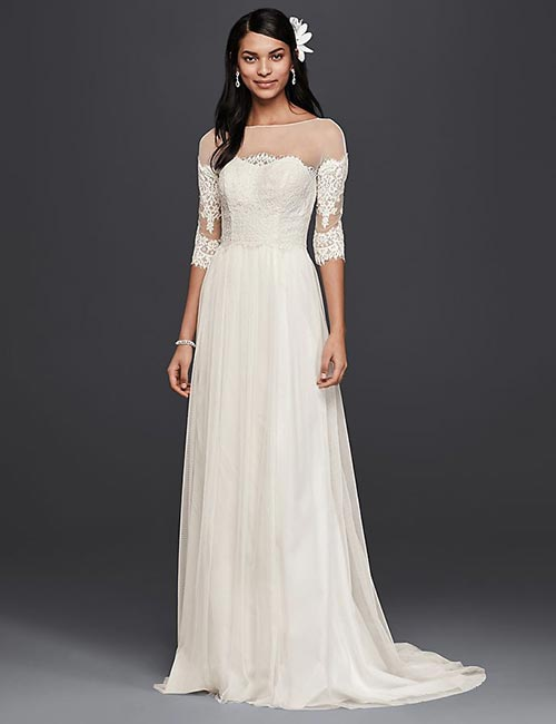 Lace Gown With Illusion Sleeves