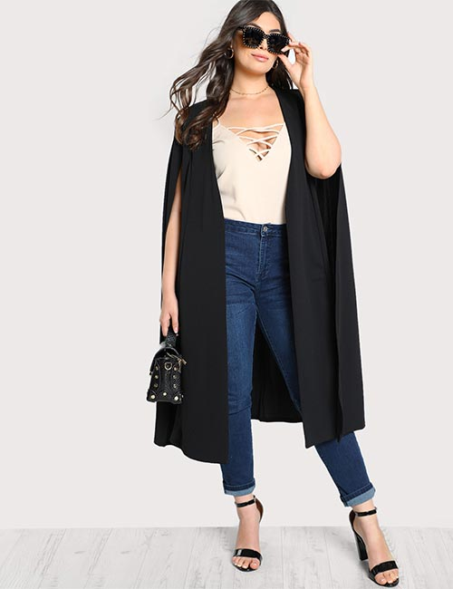 Solid Long Cape Cardigan